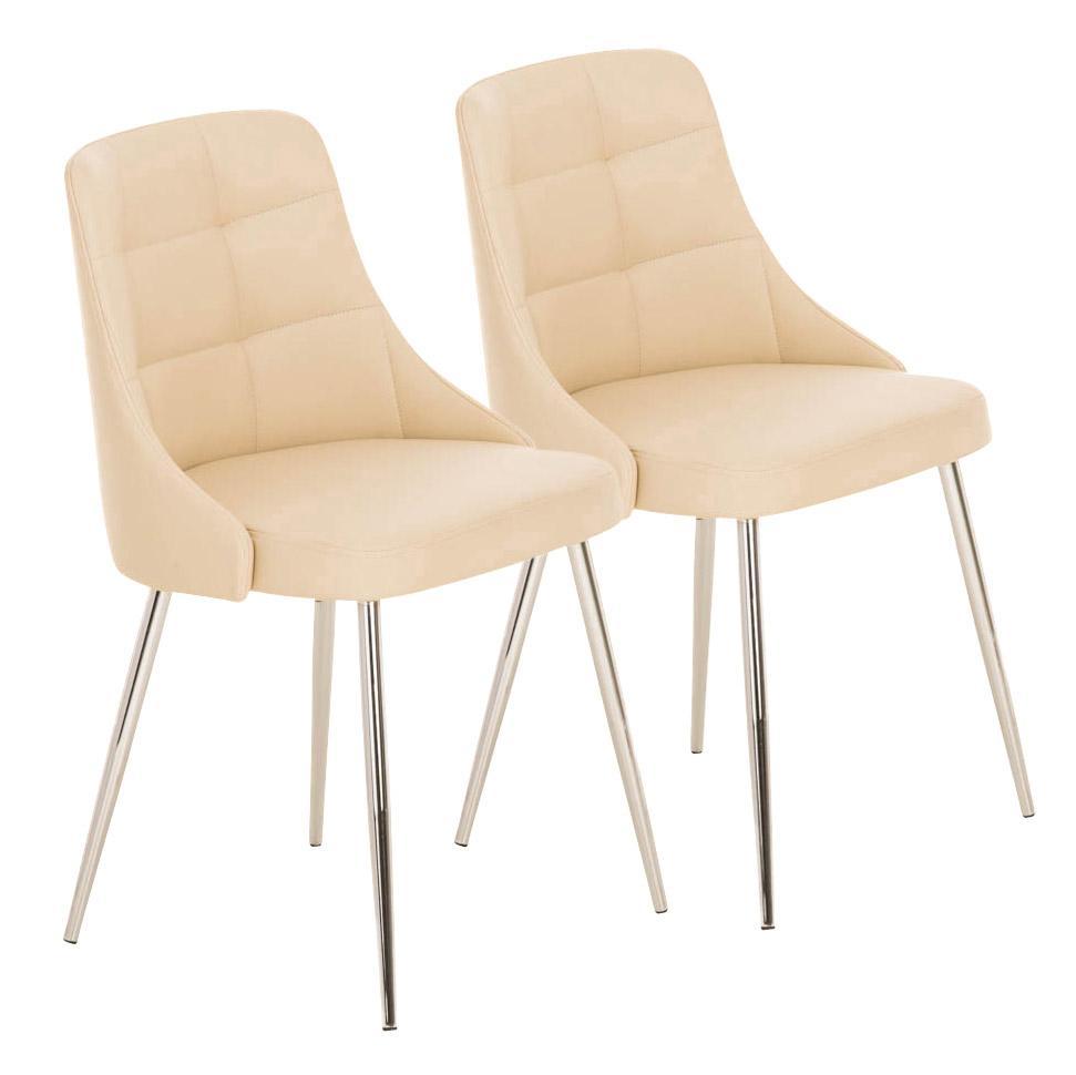 Lote 2 sillas de comedor o cocina harrison en piel crema for Sillas comedor patas metalicas