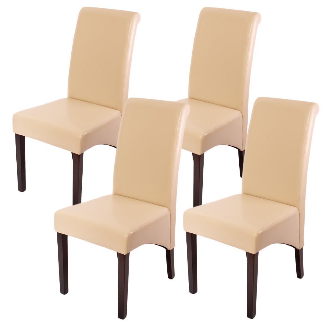 Lote de 4 sillas de comedor turin en piel crema y patas for Sillas de comedor de cuero