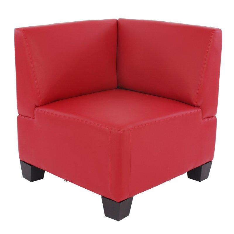 Sofá Esquinero Modular LYON en cuero sintético rojo - Sofa Esquinero ...