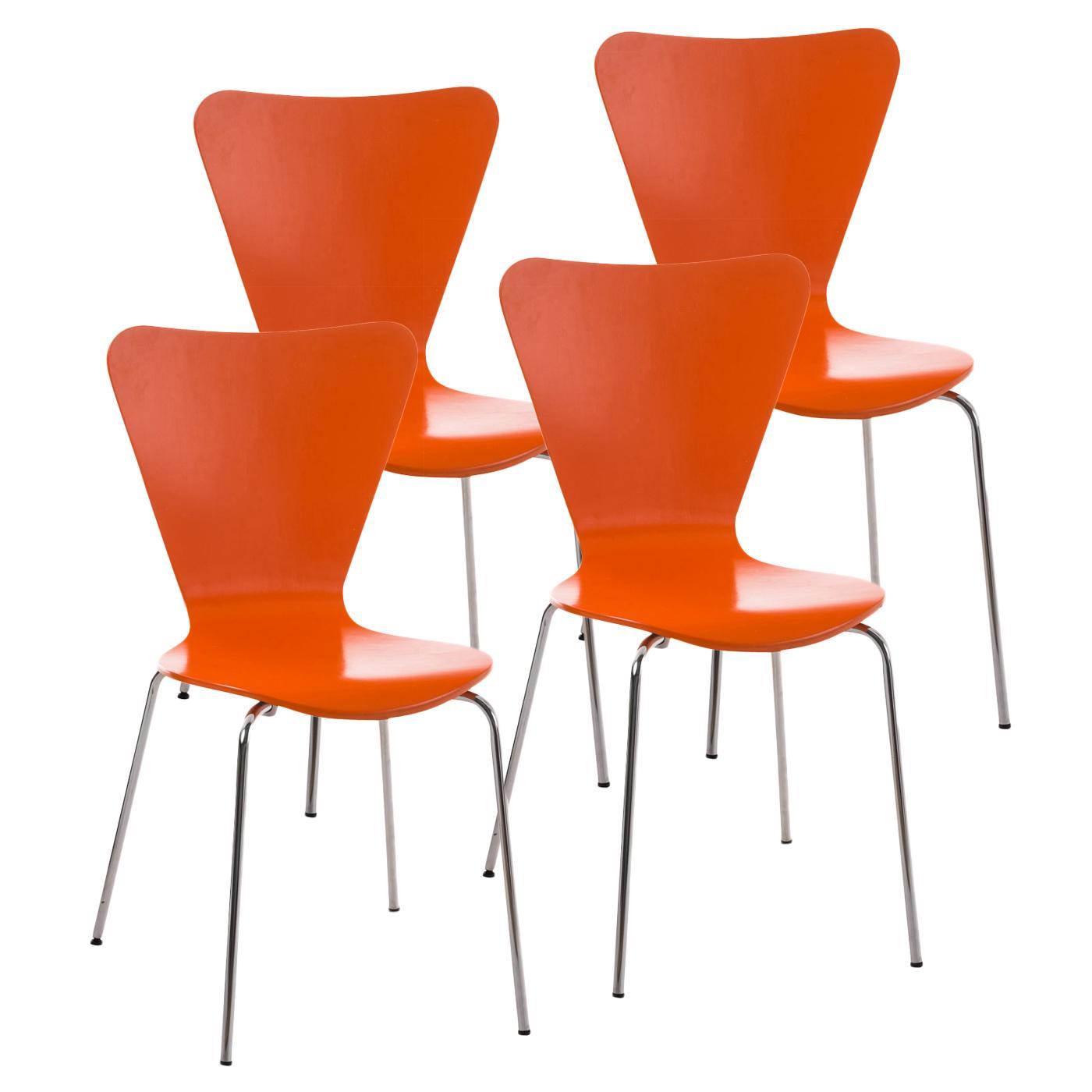 Lote 4 sillas de cocina o comedor lerma en naranja lote for Sillas de comedor apilables