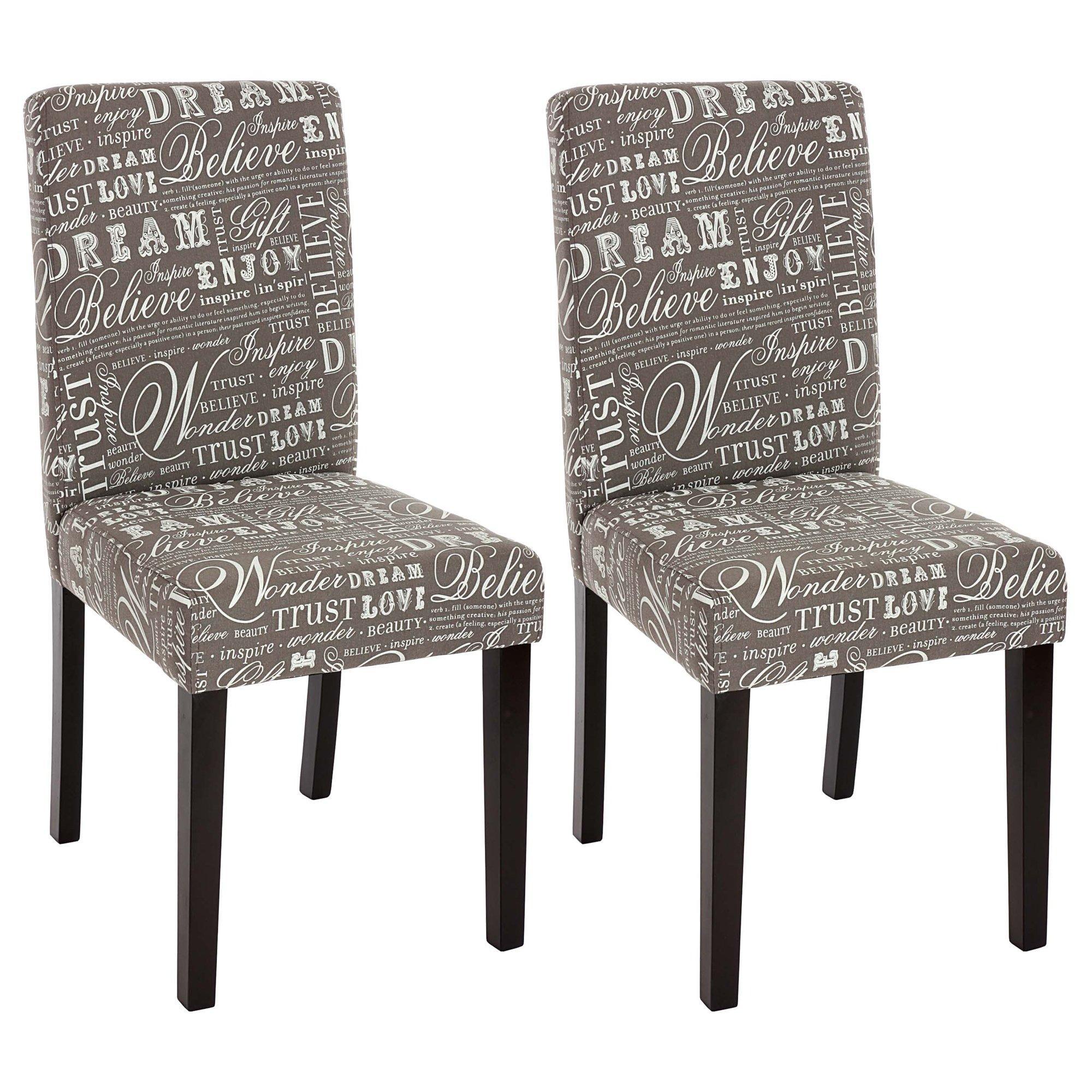 Lote 2 sillas de comedor litau tela dise o letras gris - Sillas de comedor diseno ...