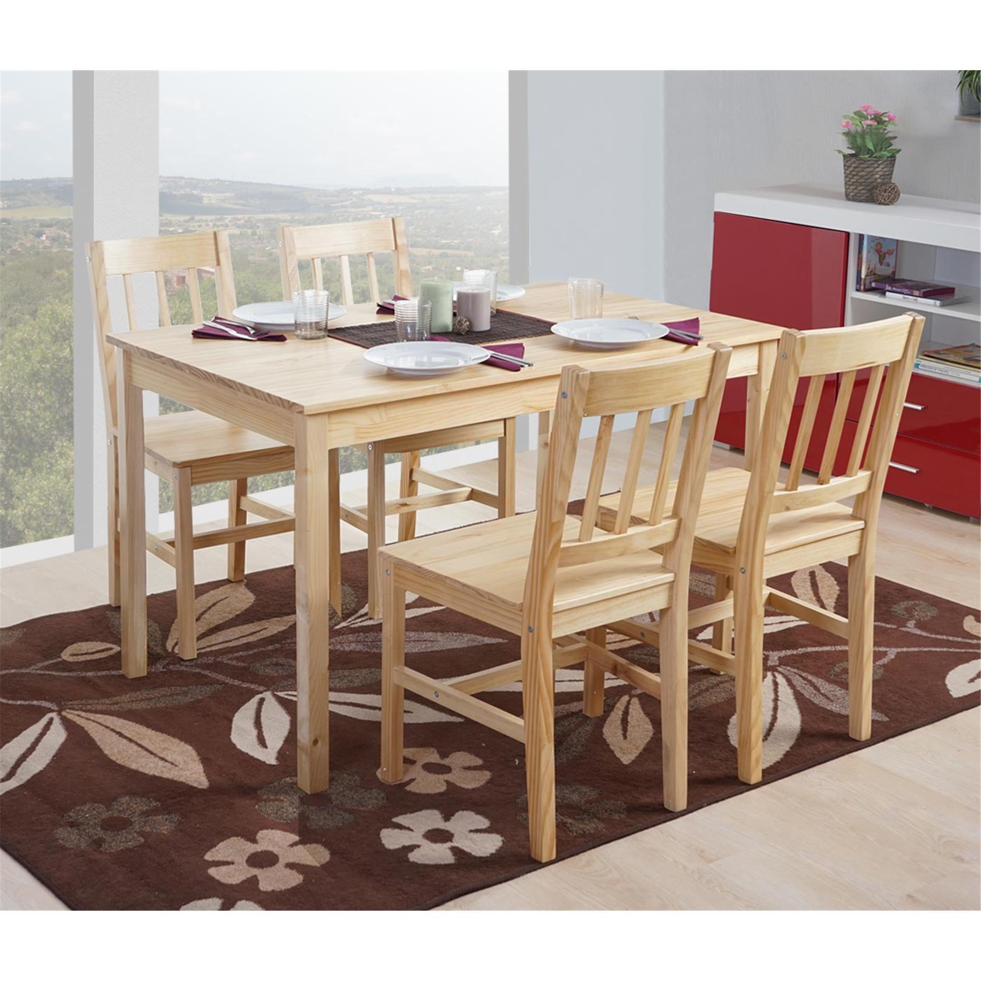 Conjunto Mesa + 4 Sillas de Cocina o Comedor NERJA , estructura de madera,  en color marrón haya