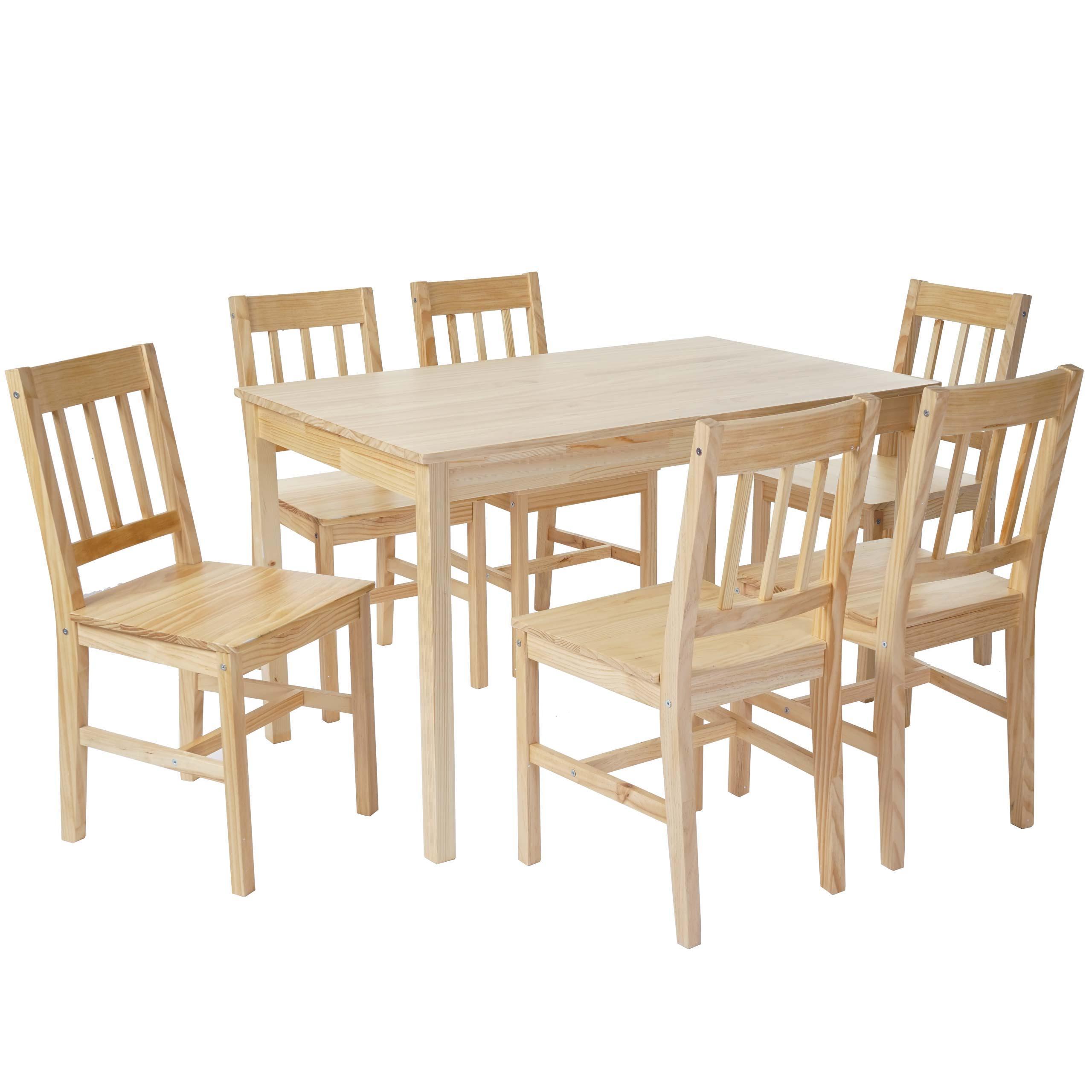 Conjunto Mesa + 6 Sillas de Cocina o Comedor NERJA en marrón haya ...