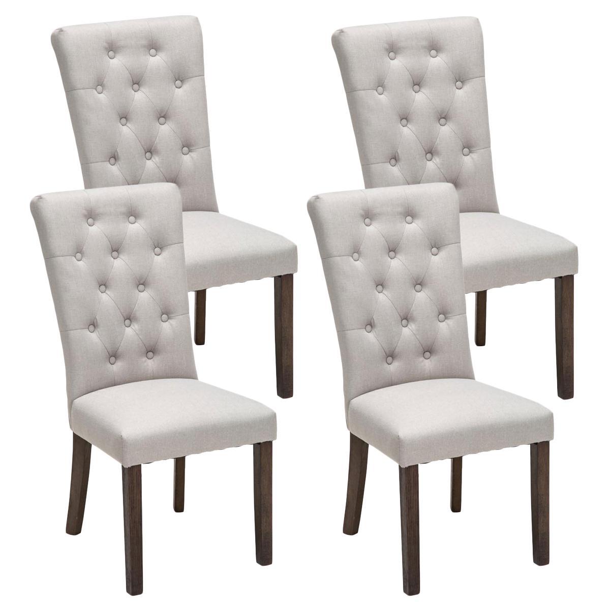 Ote de 4 sillas de comedor selena tapizadas en tela color for Precio de comedor de 4 sillas de madera