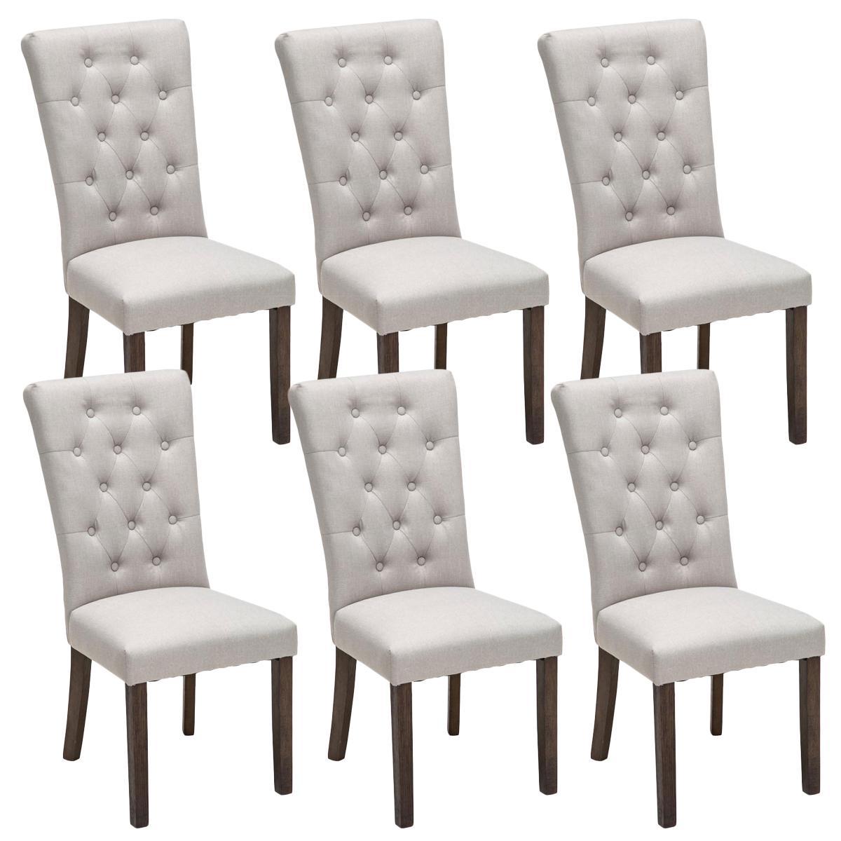 Ote de 6 sillas de comedor selena tapizadas en tela color for Sillas de tela comedor