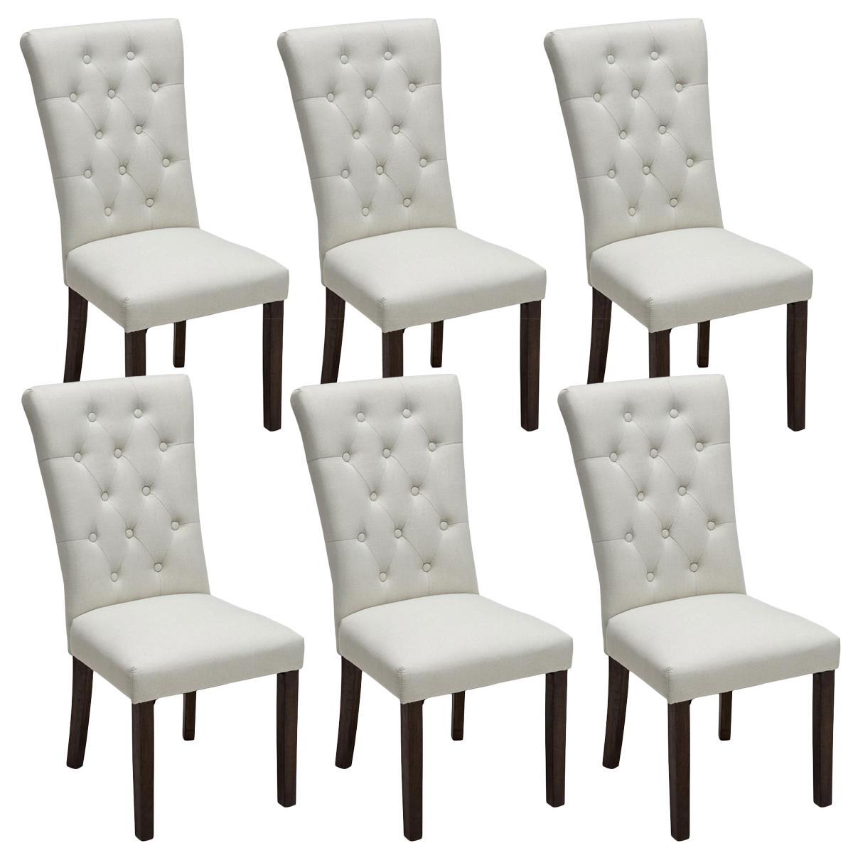 Ote de 6 sillas de comedor selena tapizadas en tela color for Sillas blancas con patas de madera