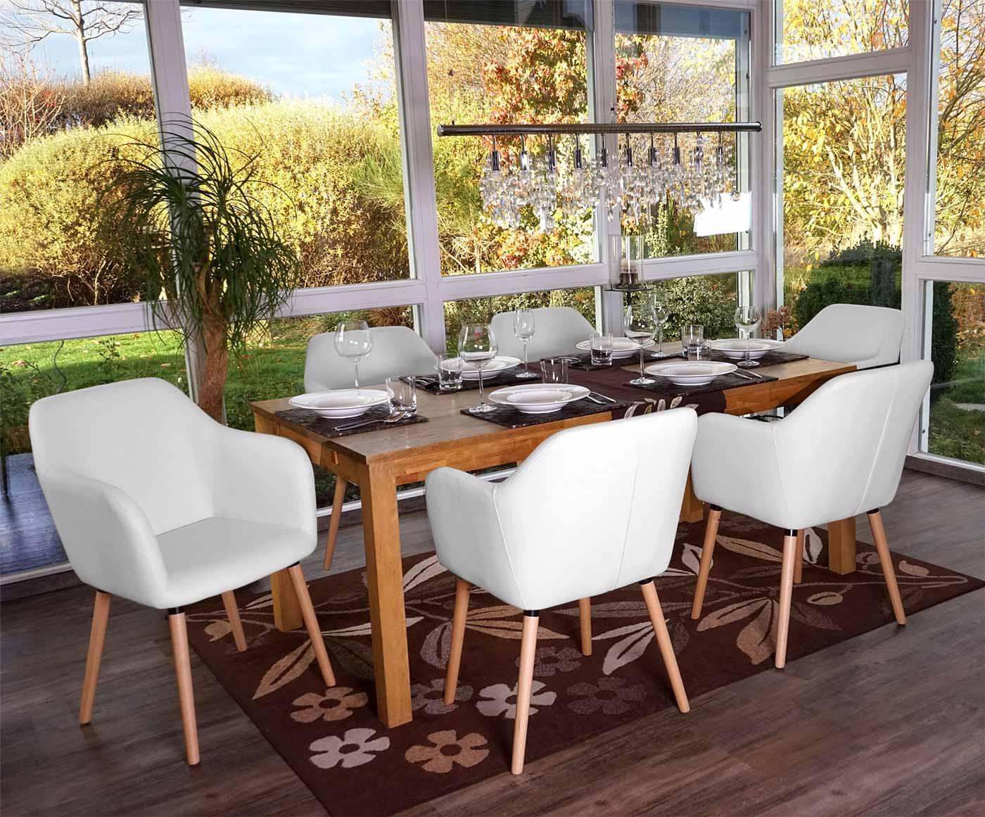 Lote de 6 sillas de comedor tulio tapizadas en piel color blanco lote de 6 sillas de comedor - 6 sillas comedor ...
