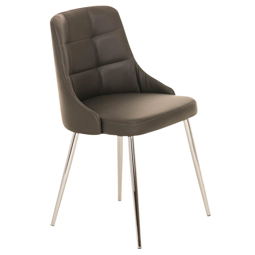 Silla de comedor o cocina harrison en piel gris silla for Sillas comedor patas metalicas