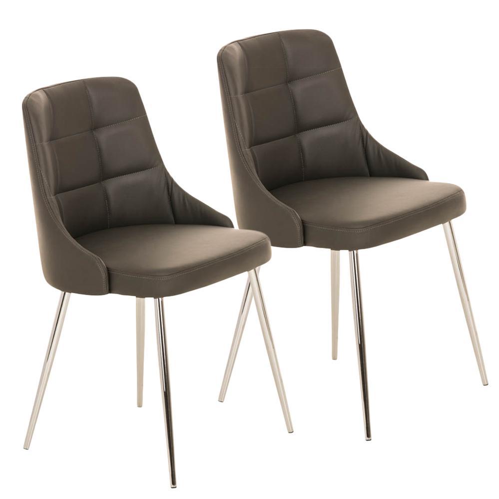 Lote 2 sillas de comedor o cocina harrison en piel gris for Sillas comedor patas metalicas