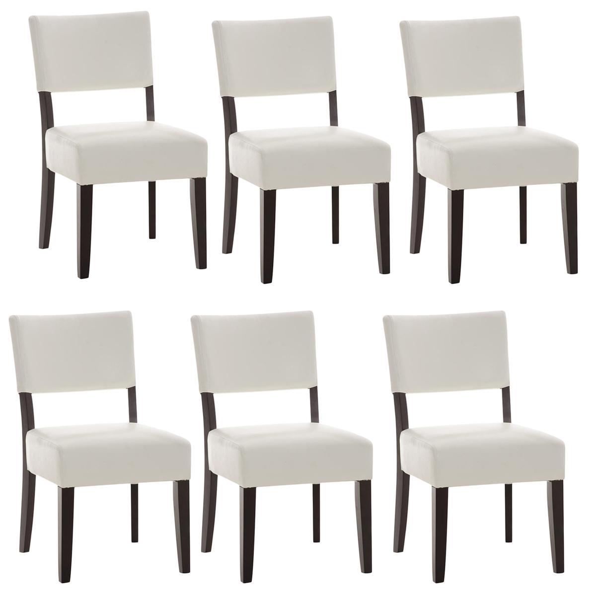 Lote de 6 sillas de comedor cristobal tapizadas en piel for Sillas de piel blancas