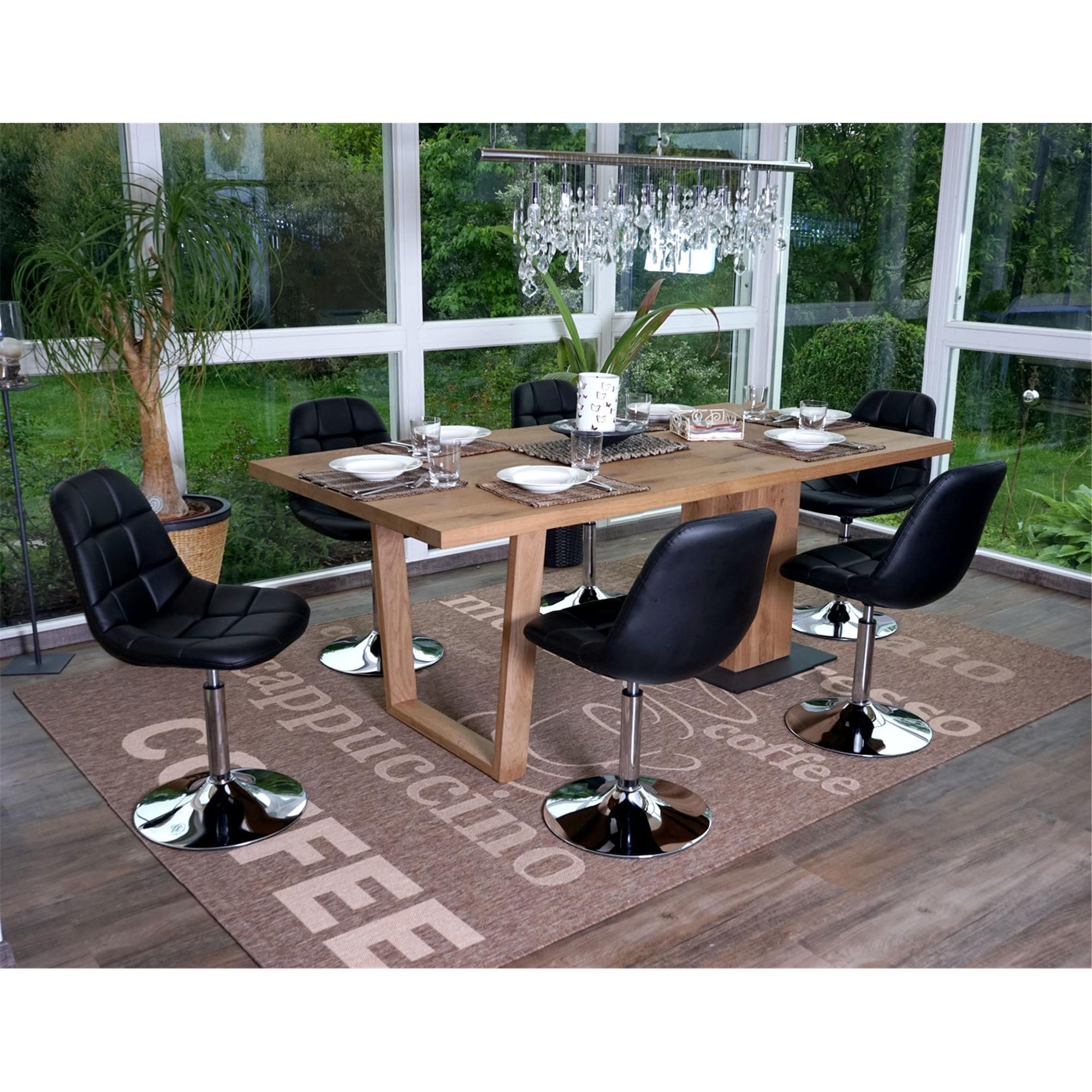 Conjunto de 6 sillas comedor tom en piel negra conjunto for Sillas de comedor de piel