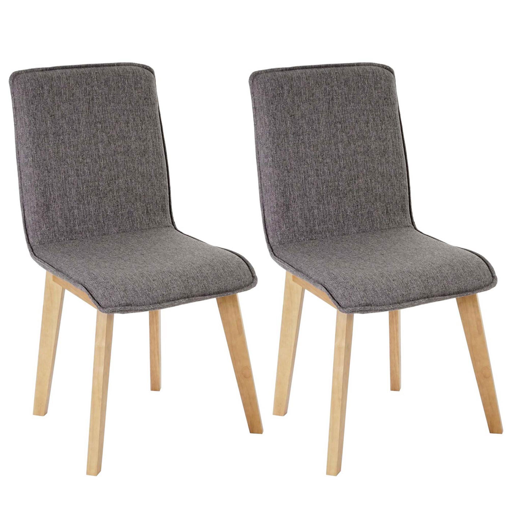 Lote 2 sillas de cocina o comedor ford en tela gris - Sillas de cocina madera ...