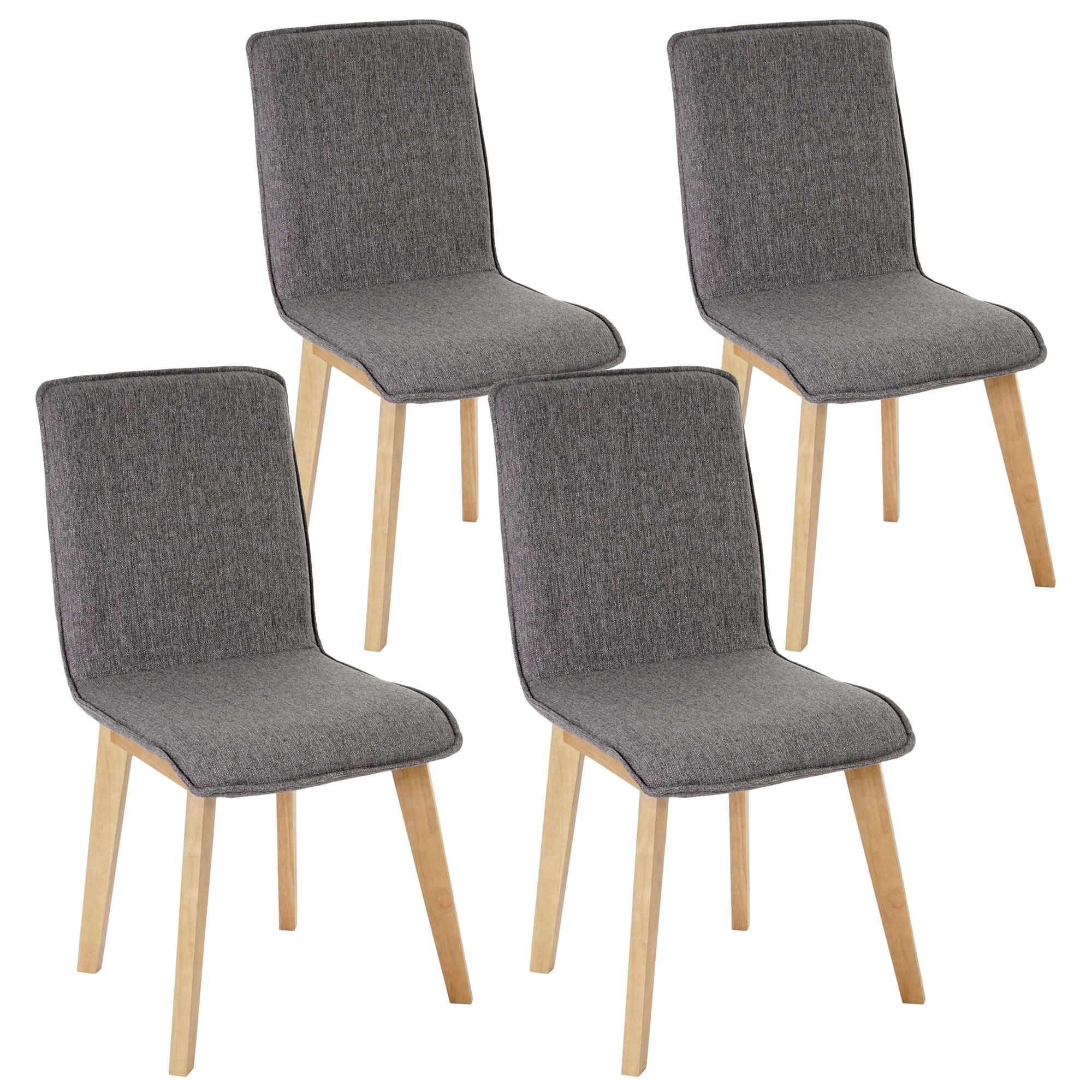 Lote 4 sillas de cocina o comedor ford en tela gris for Sillas de comedor tapizadas en gris