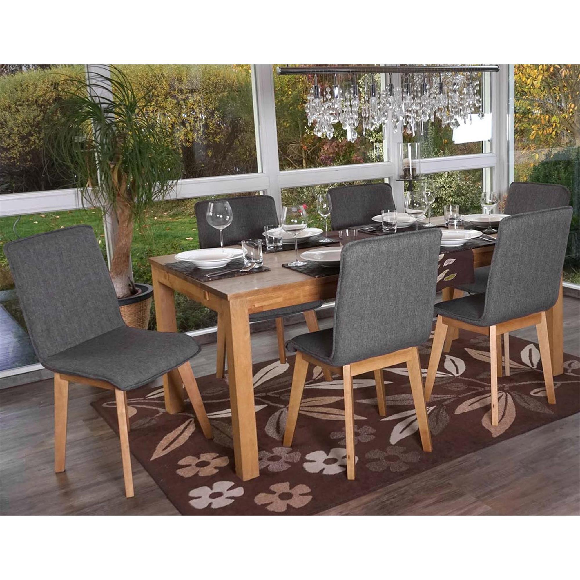 Lote 6 sillas de cocina o comedor ford en tela gris for Sillas de tela comedor