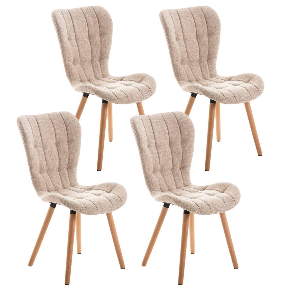 Lote de 4 sillas de comedor padua con capiton y for Sillas de tela comedor