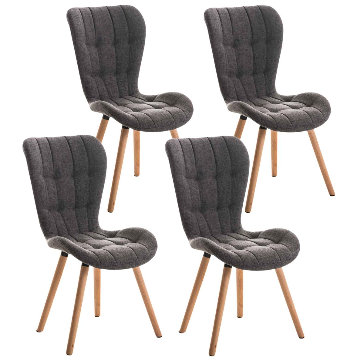 Lote de 4 sillas de comedor padua con capiton y for Sillas de comedor tapizadas en gris