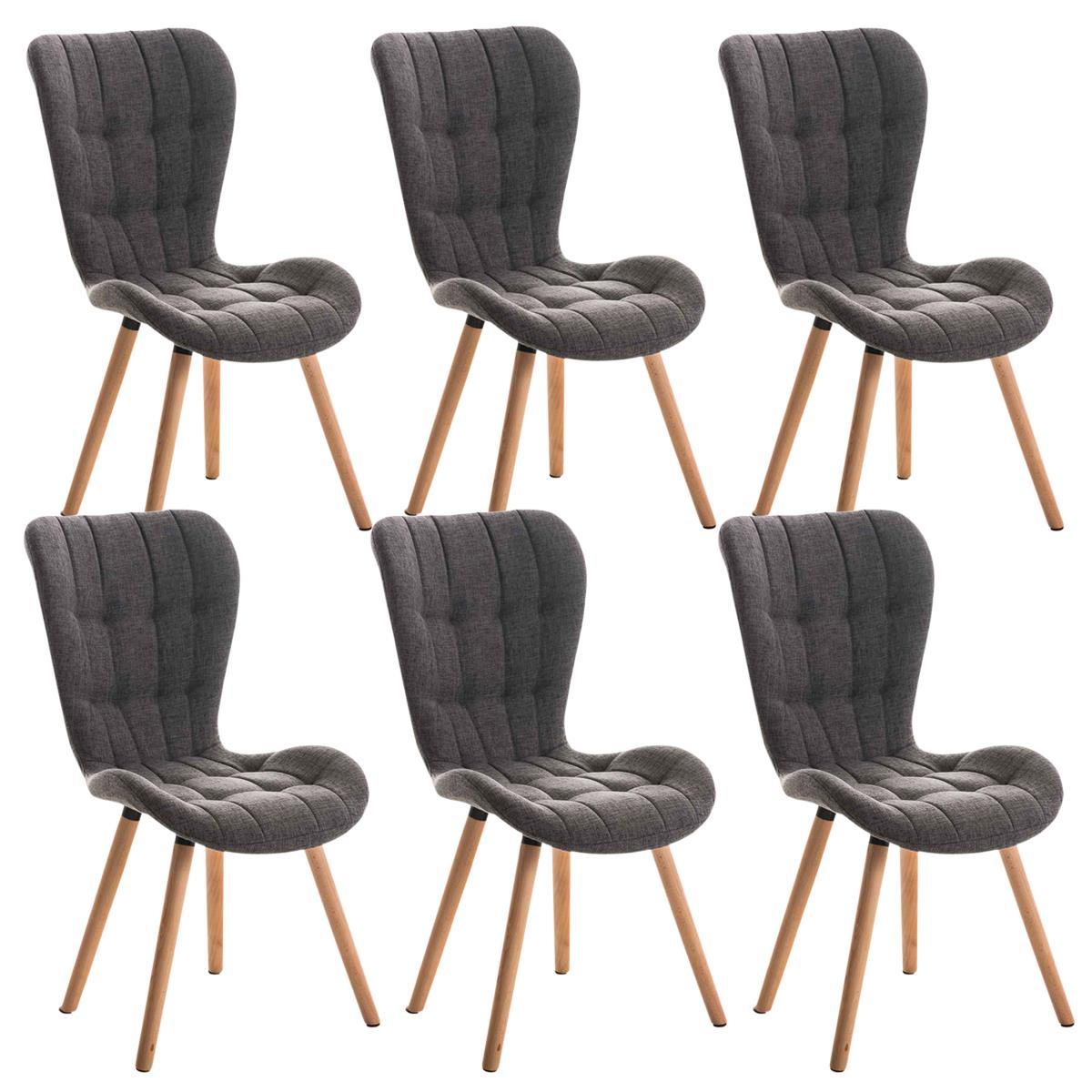 Lote de 6 sillas de comedor padua con capiton y for Sillas de comedor tapizadas en gris