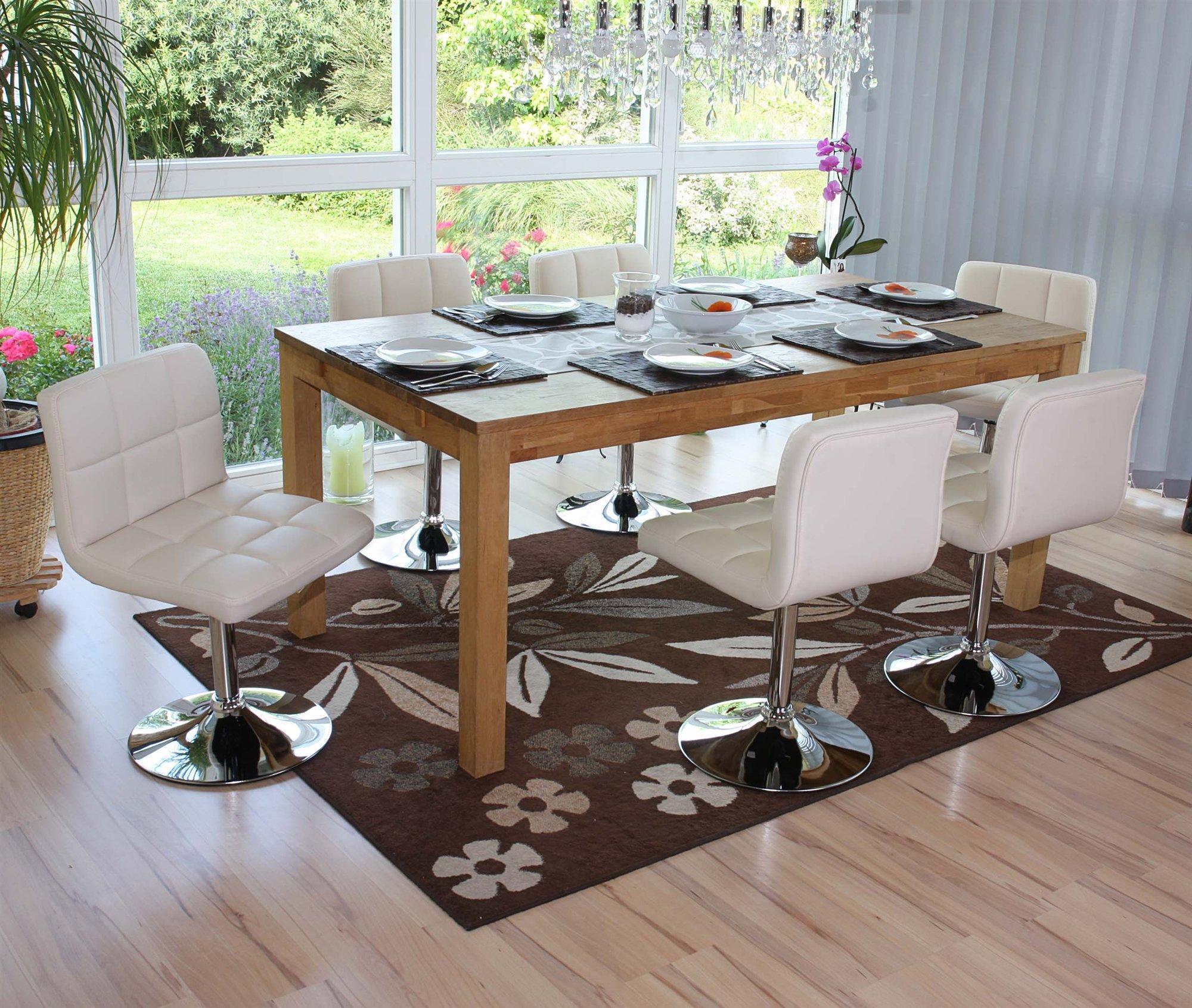 Conjunto de 6 sillas de cocina genova giratorias crema for Sillas de comedor comodas