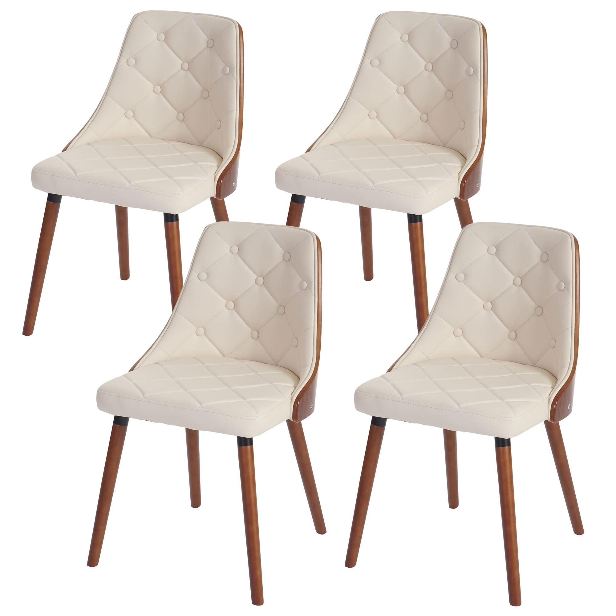 Lote 4 sillas de comedor baley en piel crema - Sillas comedor piel ...