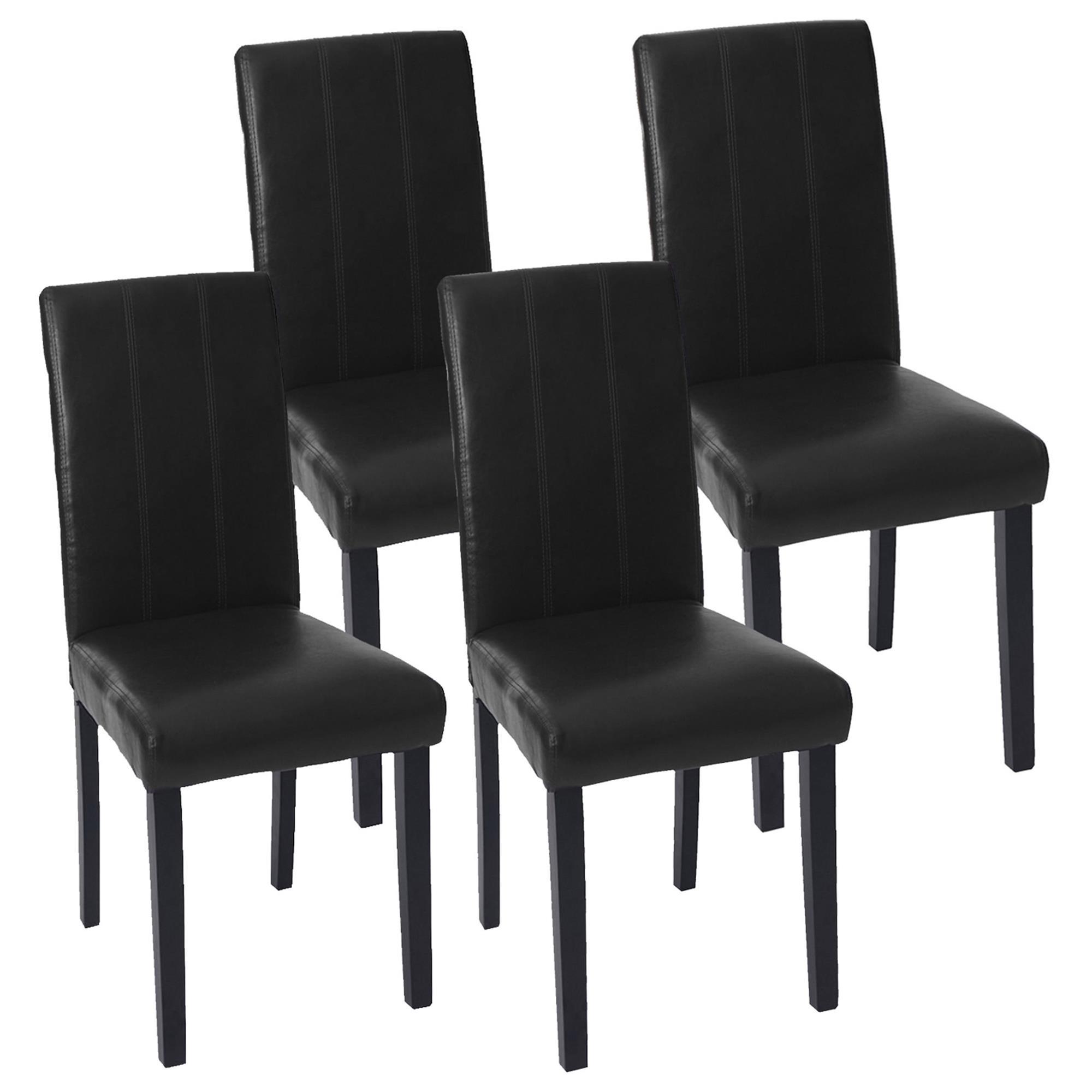 Lote 4 sillas comedor toper en piel negra con costuras for Sillas de comedor elegantes