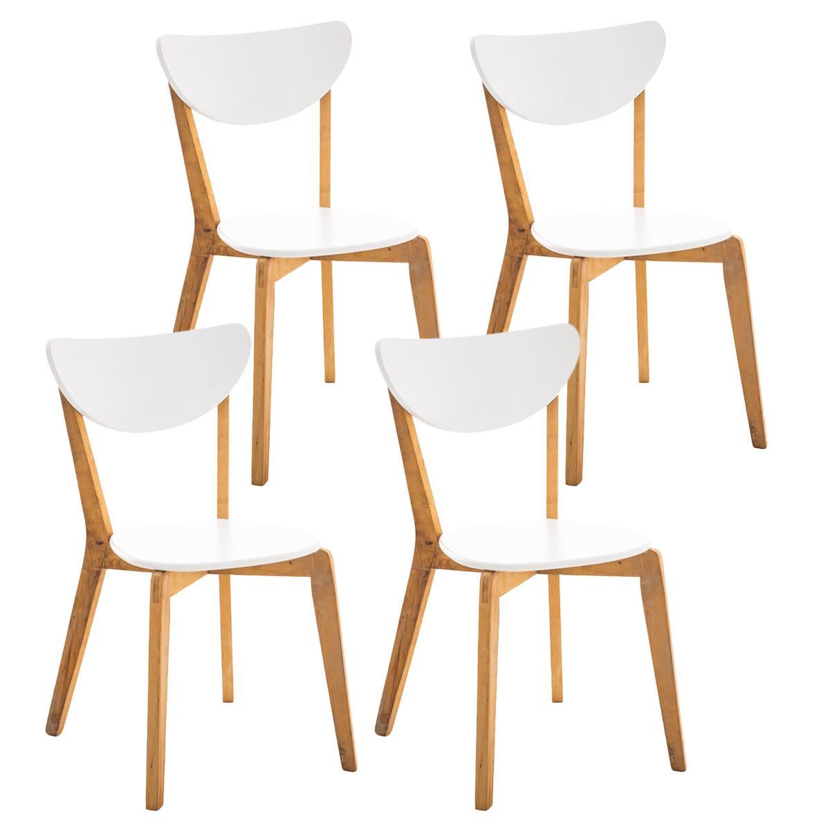 Conjunto de 4 sillas de comedor bari color blanco con for Comedor de madera 4 sillas
