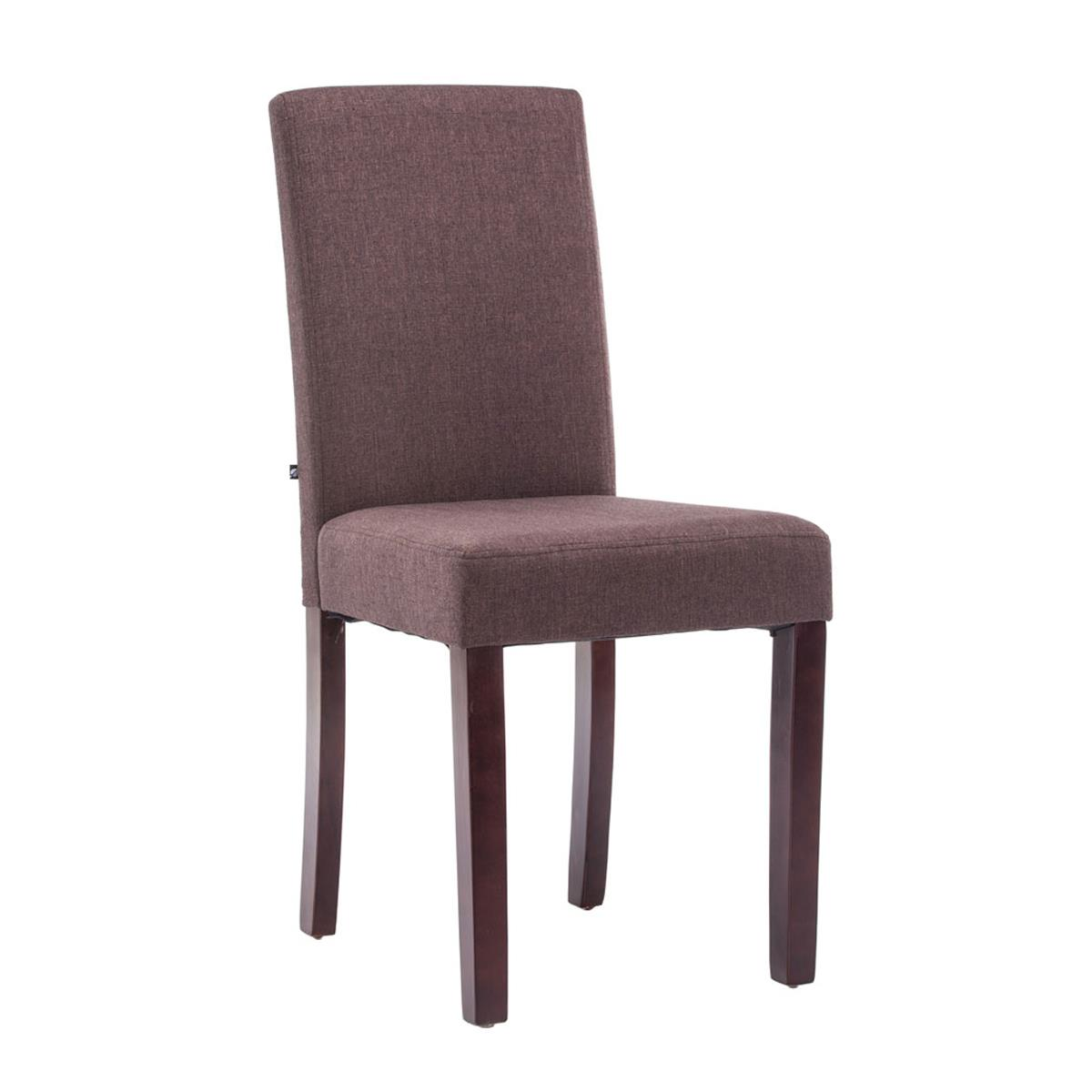 Silla de comedor adria tapizada en tela color marr n y for Sillas comedor marron chocolate