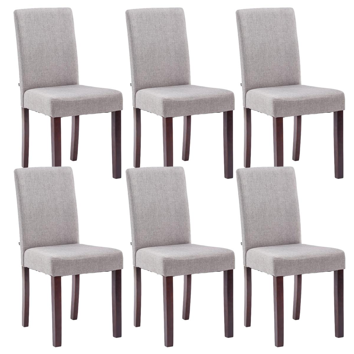 Conjunto de 6 sillas de comedor adria tapizadas en tela for Sillas de comedor tapizadas en gris