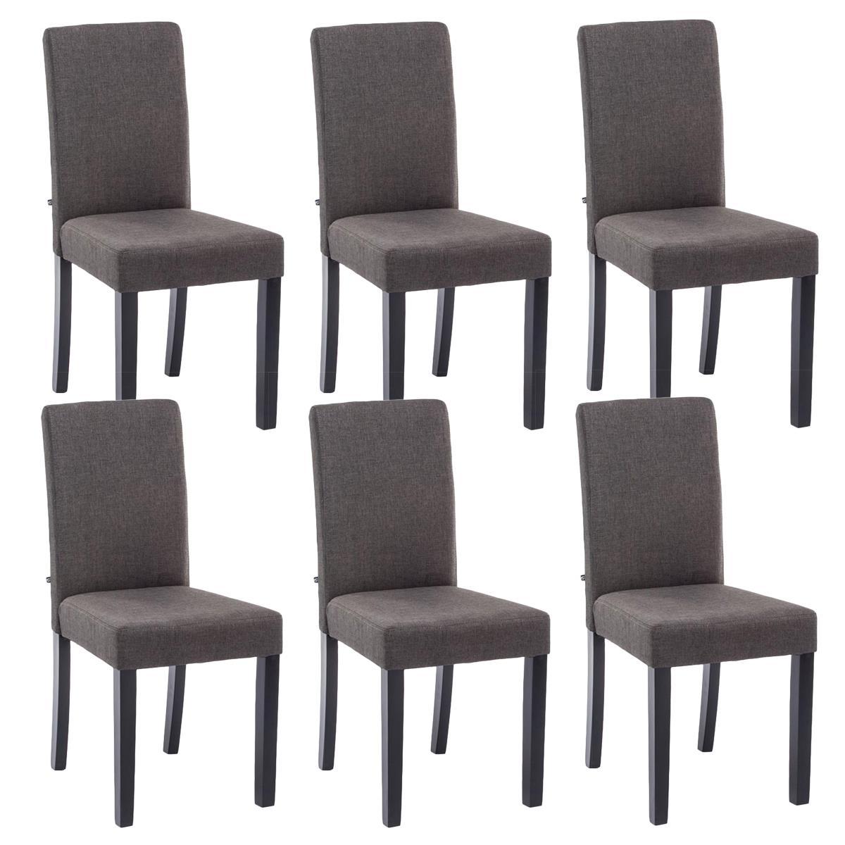 Conjunto de 6 sillas de comedor adria tapizadas en tela for Comedor de madera 6 sillas
