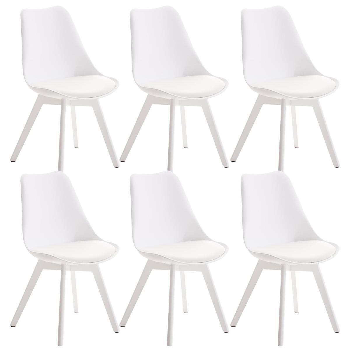 Conjunto de 6 sillas de comedor loren color blanco y for Sillas de piel para comedor