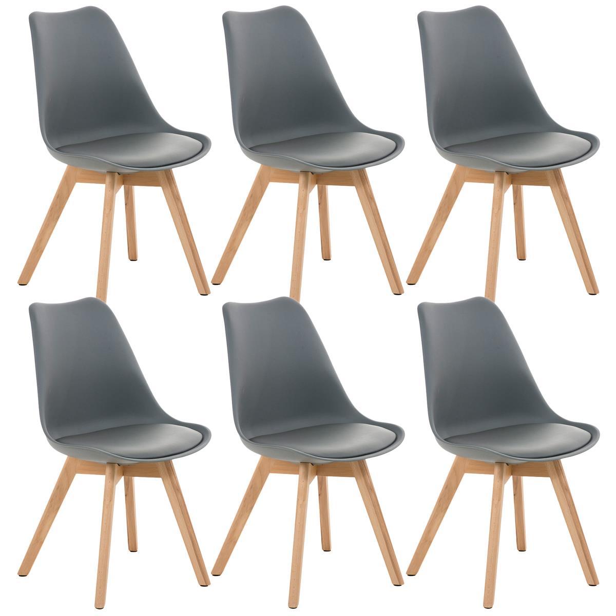 Conjunto de 6 sillas de comedor loren color gris y patas for Sillas de comedor color gris