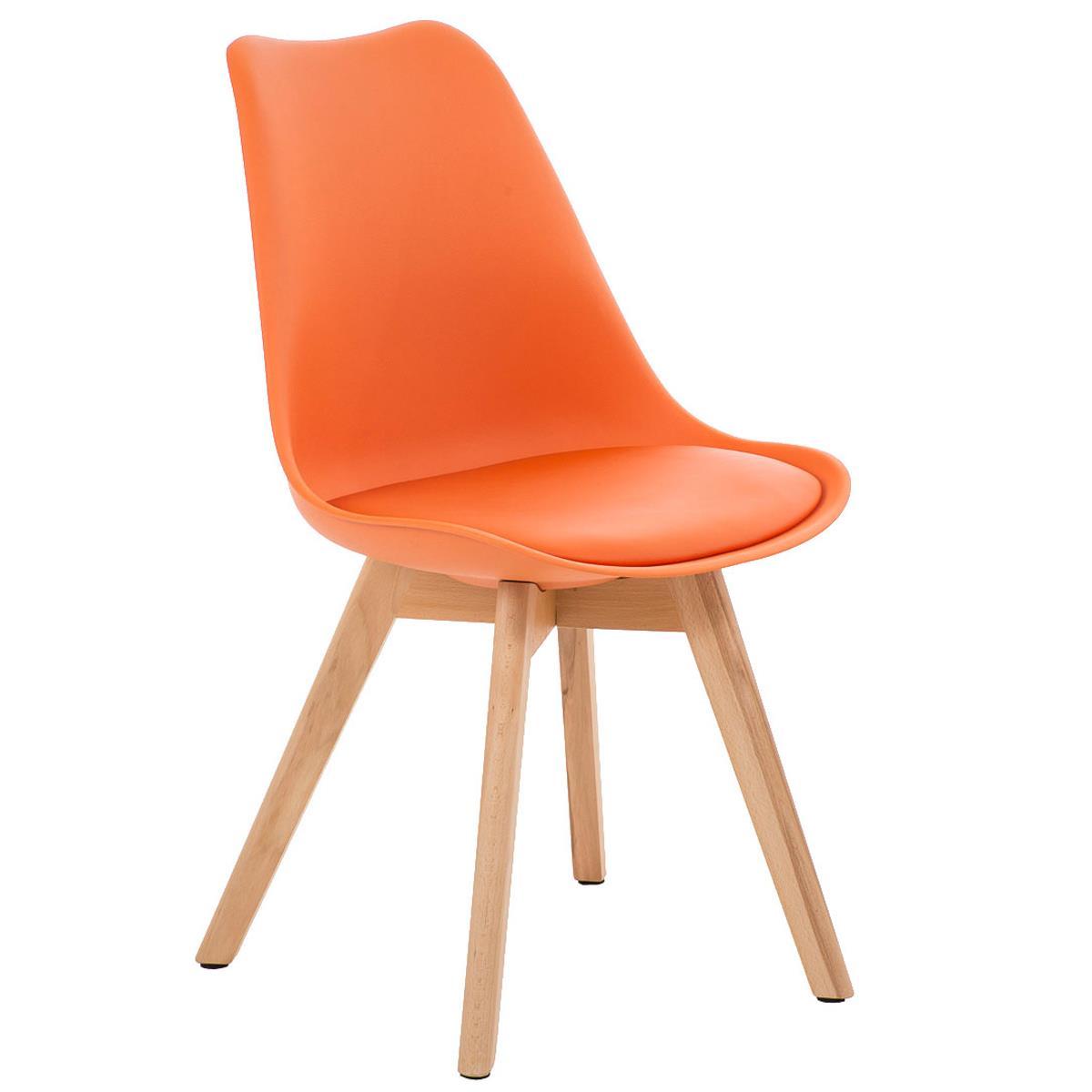 Silla de comedor loren color naranja y patas claras for Sillas comedor plastico
