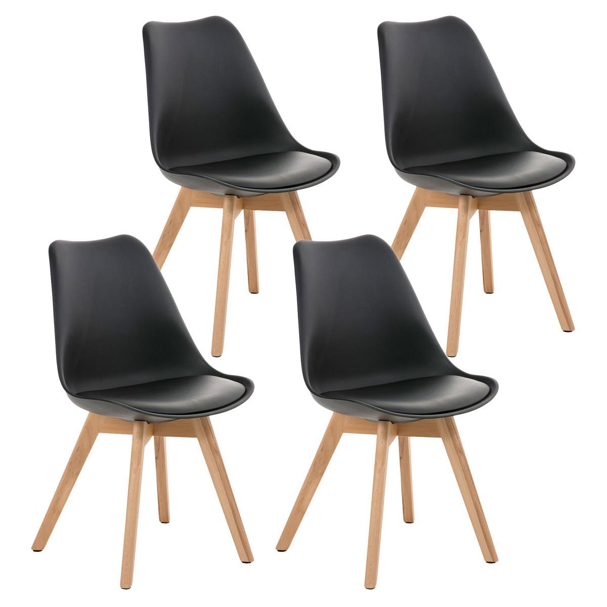 Conjunto de 4 sillas de comedor loren color negro y patas for Sillas comedor plastico