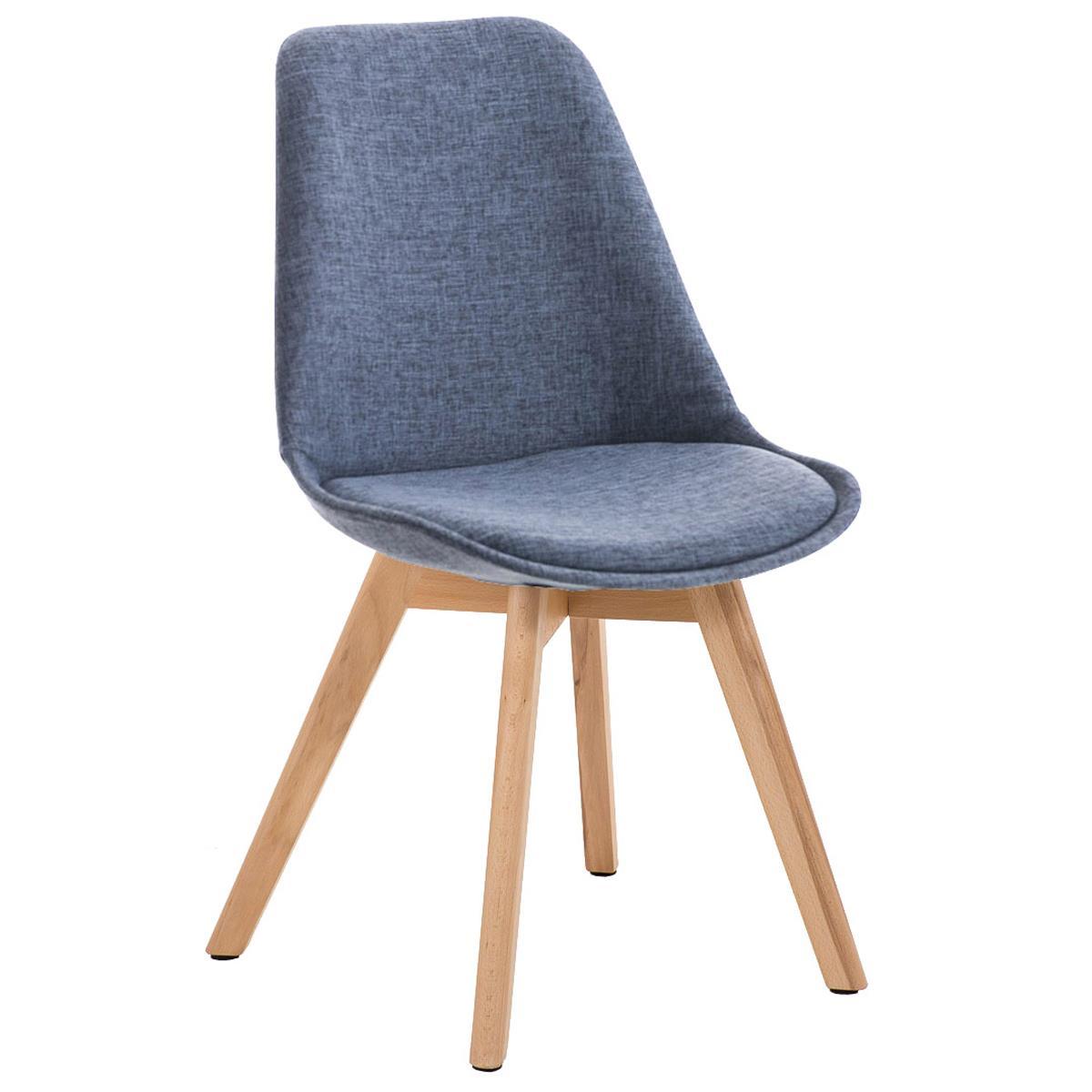 silla de comedor loren tela color azul y patas claras