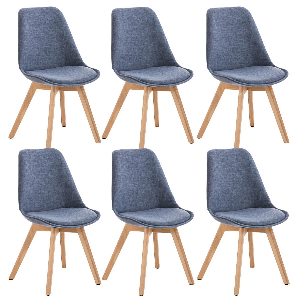 Conjunto de 6 sillas de comedor loren tela color azul y - Telas para sillas de comedor ...