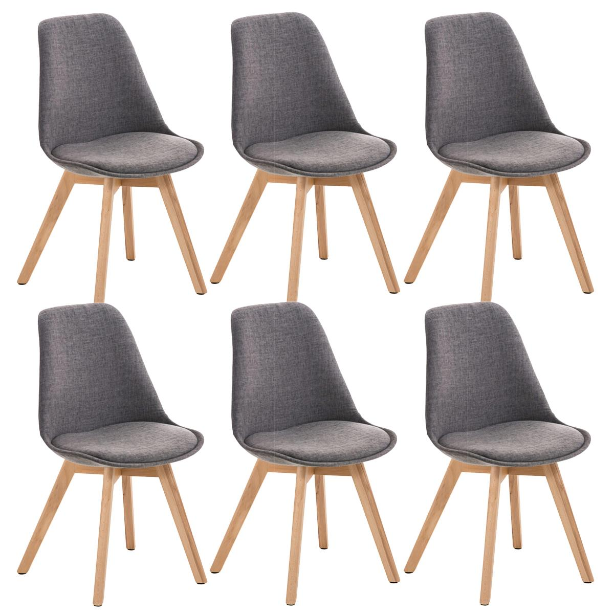 Conjunto de 6 sillas de comedor loren tela color gris for Sillas de comedor color gris