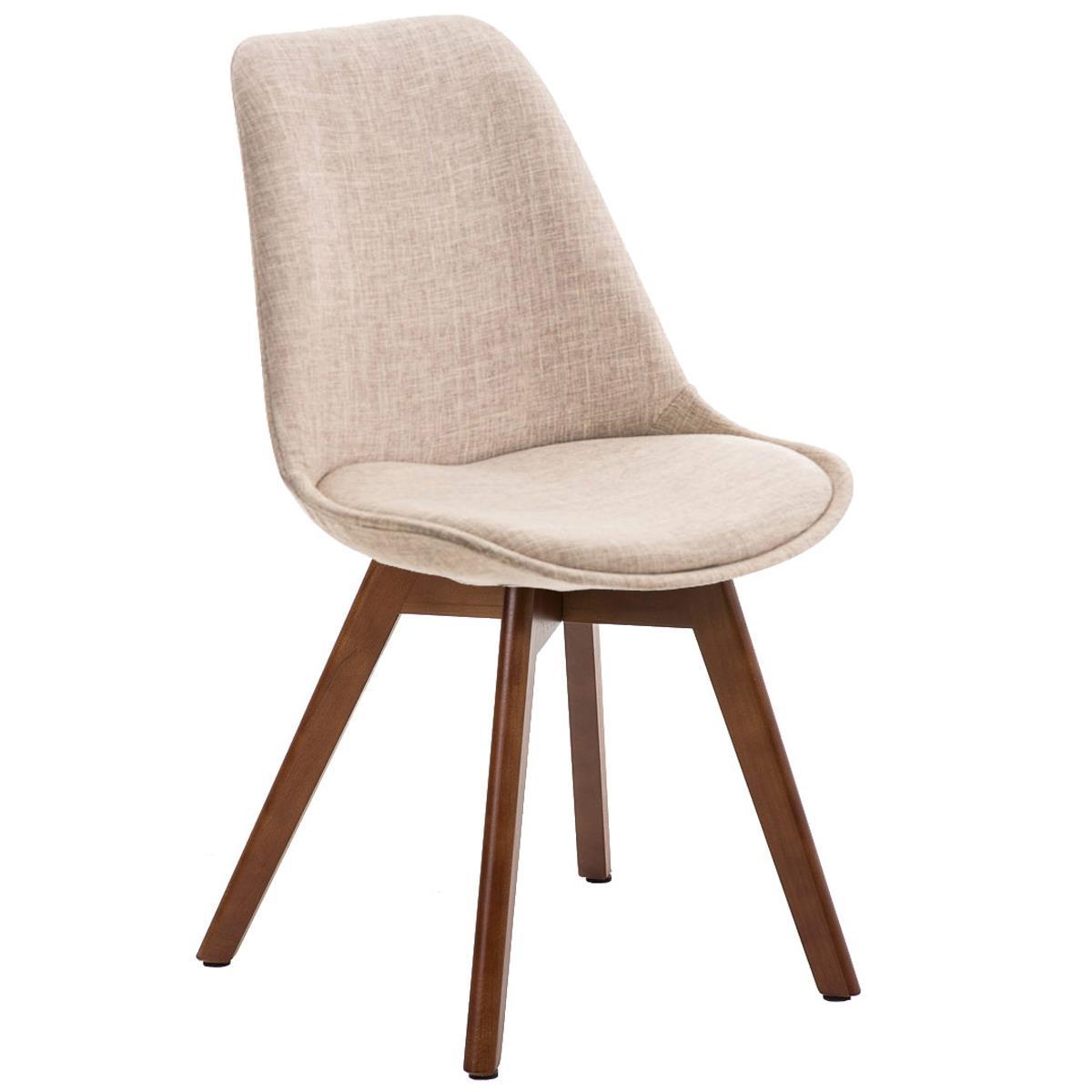 Silla de comedor loren tela color crema y patas en nogal - Tela para sillas de comedor ...