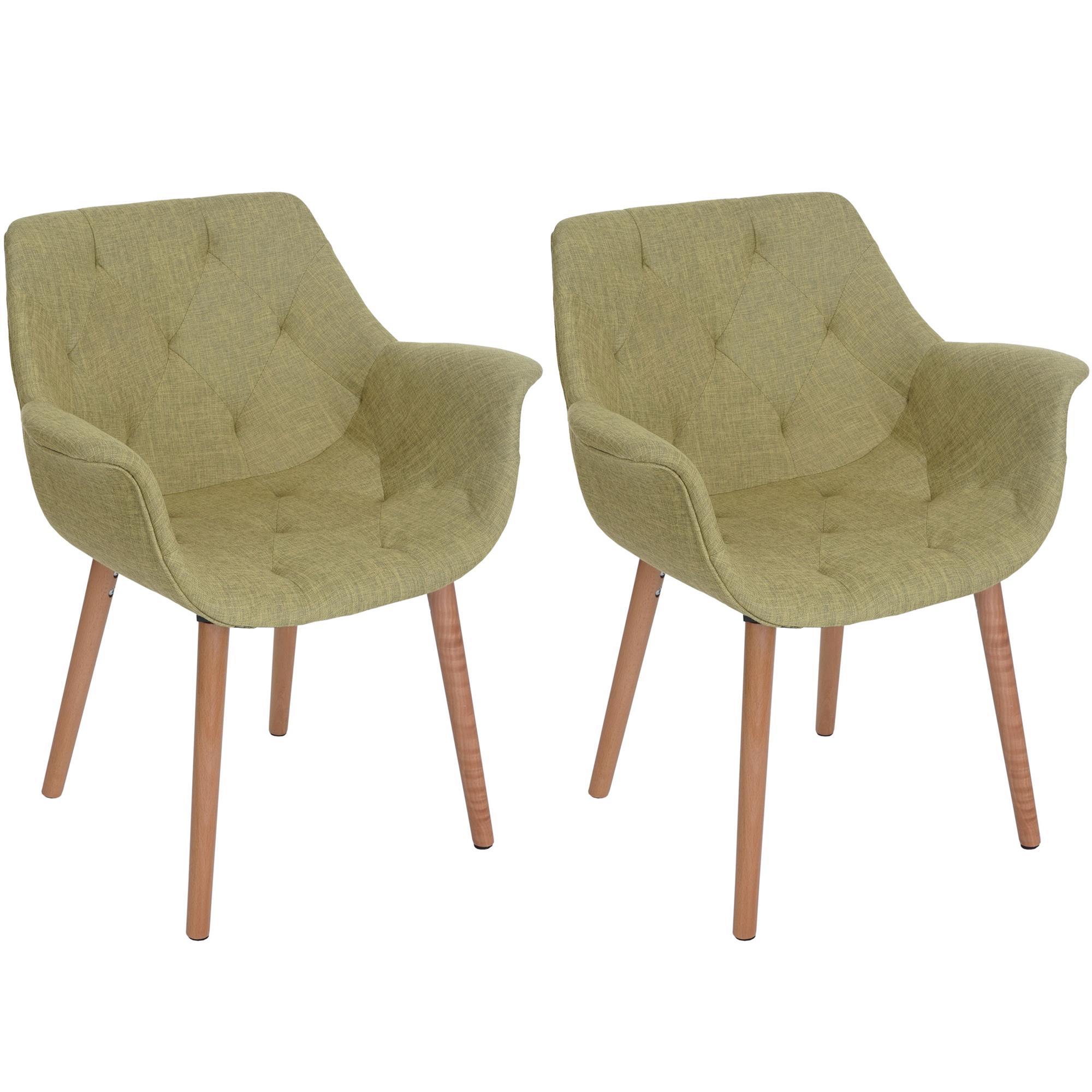 Lote 2 sillas de comedor alber tela estilo retro en verde for Sillas de tela comedor