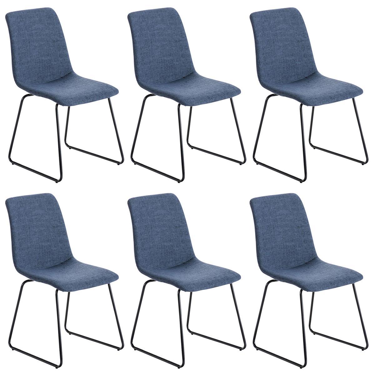 Conjunto de 6 sillas de comedor marina color azul y patas for Sillas comedor patas metalicas
