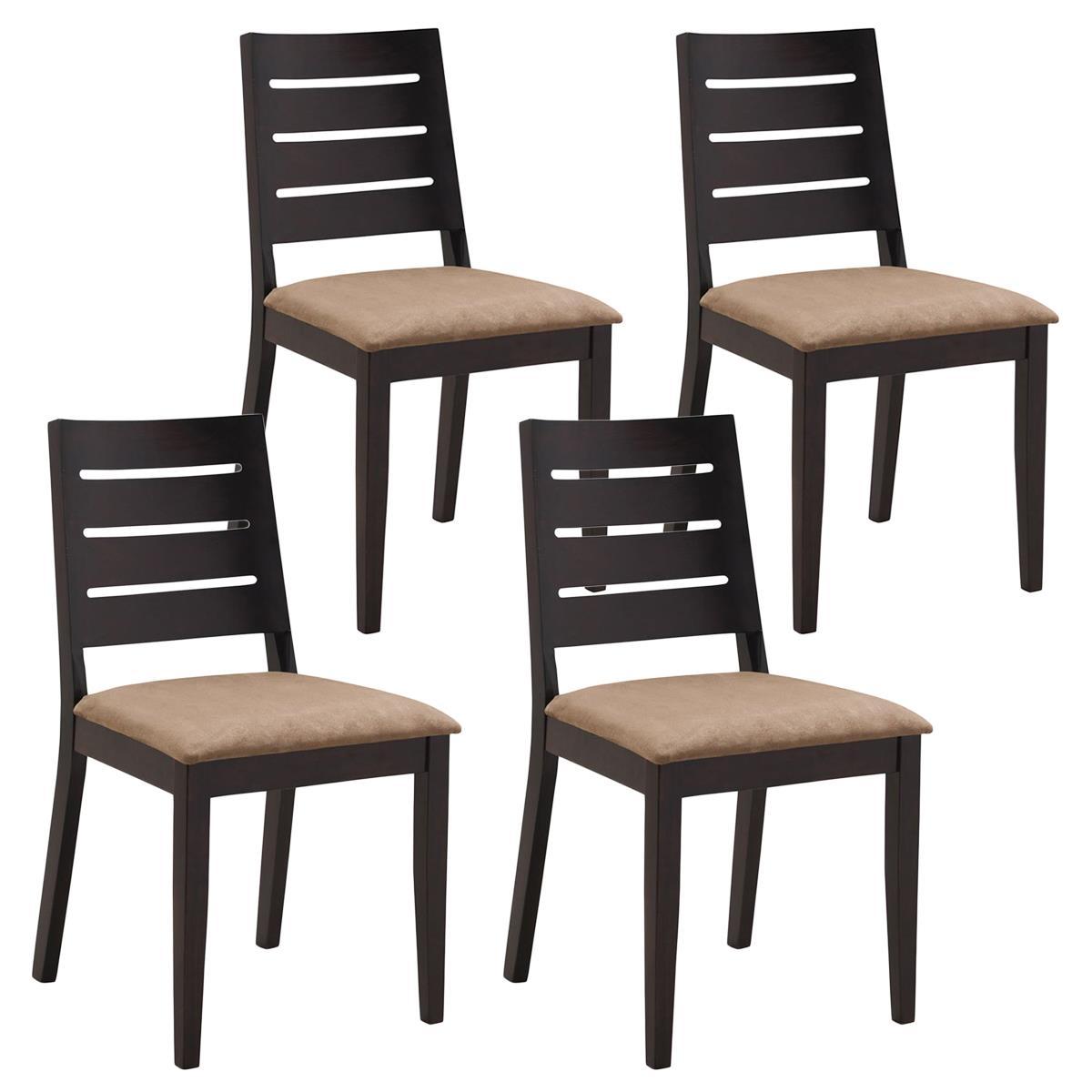 Conjunto de 4 sillas de comedor salo en madera marr n for Sillas comedor marron chocolate