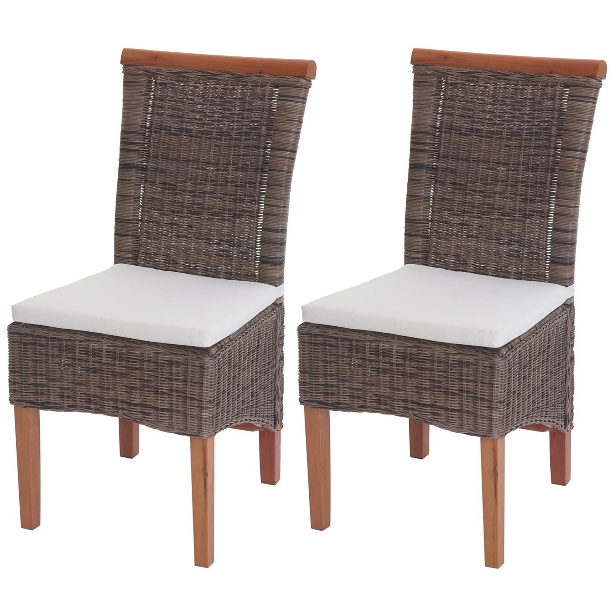 Lote 2 sillas comedor o jardin sedri en mimbre marr n for Sillas mimbre comedor