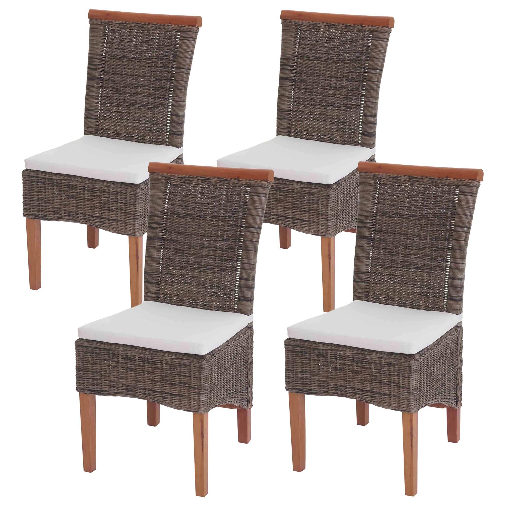 Lote 4 sillas comedor o jardin sedri en mimbre marr n - Cojines para sillas de jardin ...
