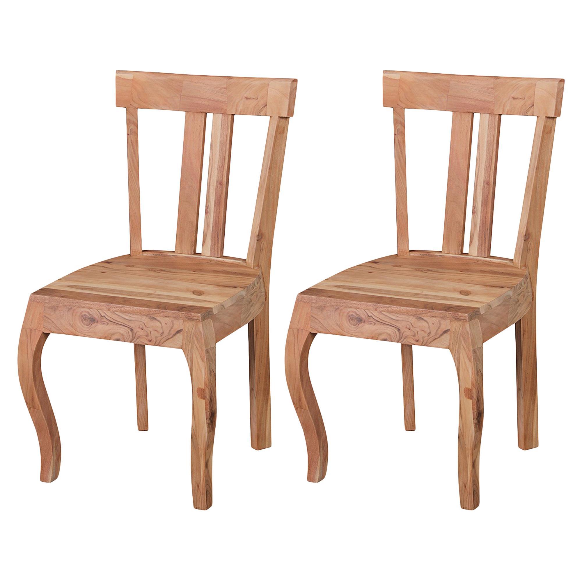 Conjunto 2 sillas de comedor ronda madera de acacia for Sillas madera maciza para comedor