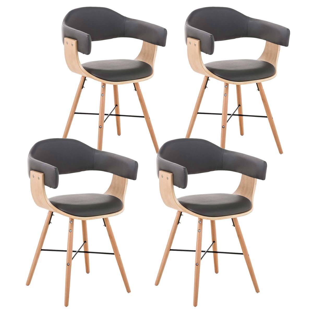Conjunto de 4 sillas de comedor albatros piel en color - Sillas comedor piel ...
