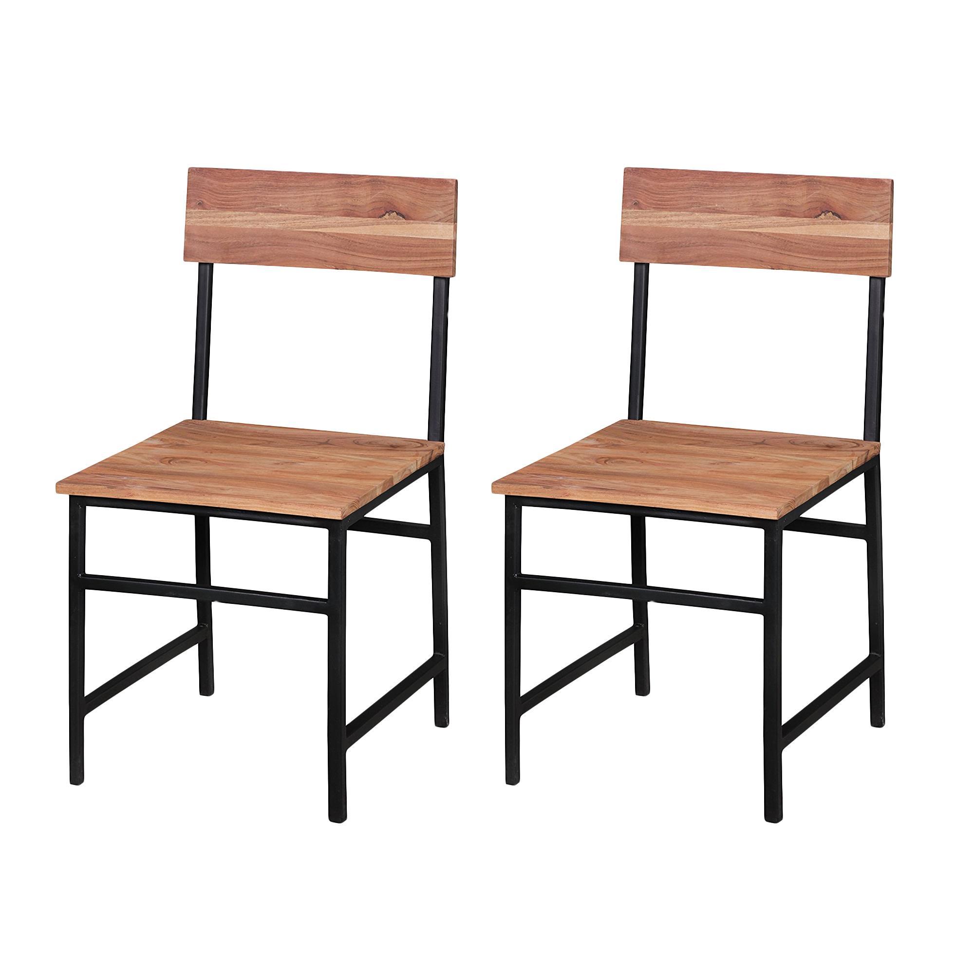 Conjunto 2 sillas de comedor baeza madera de acacia for Sillas madera maciza para comedor