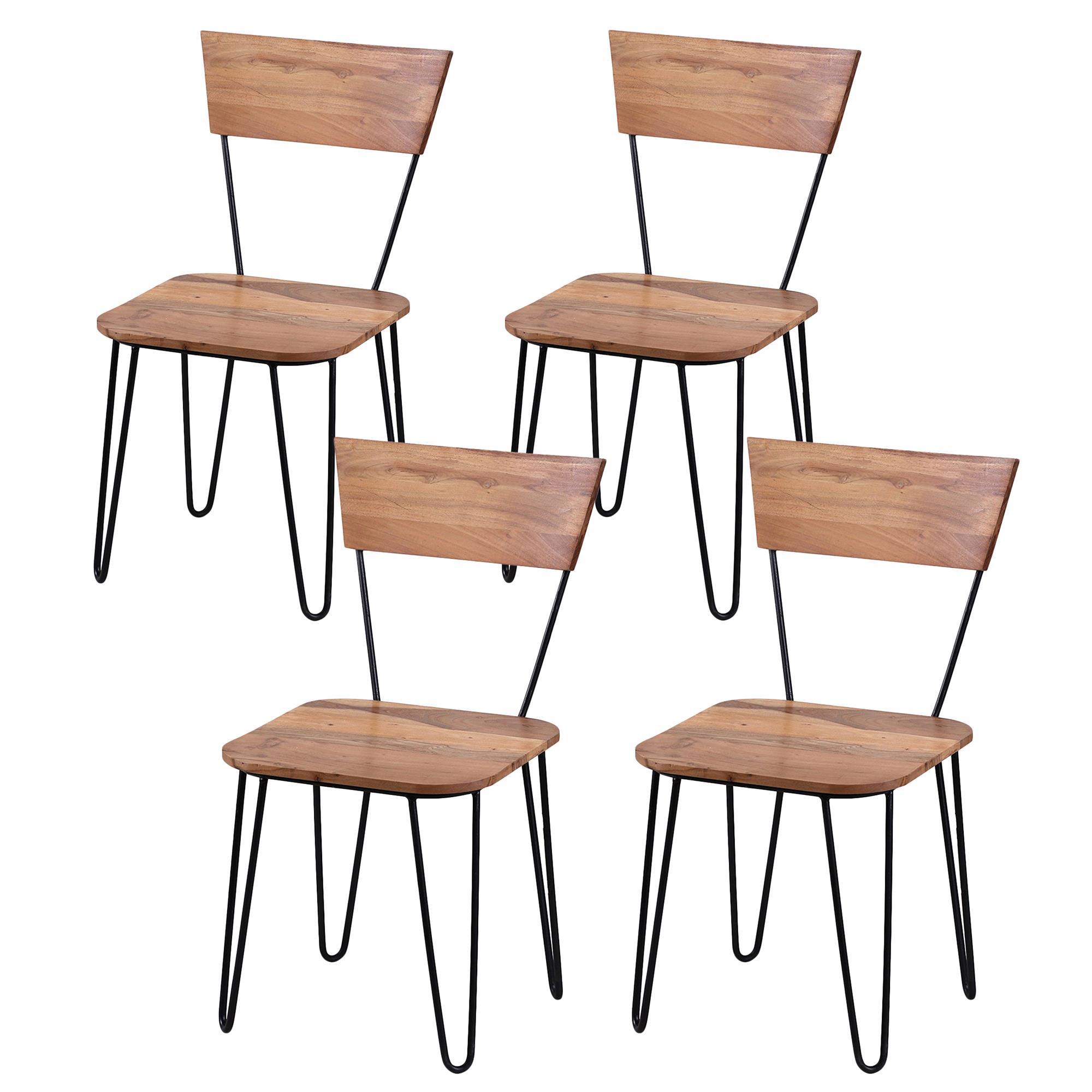 Conjunto 4 sillas de comedor olvera madera de acacia for Conjunto sillas comedor