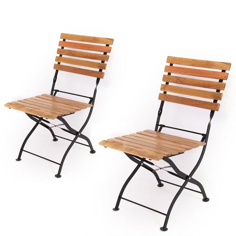 Lote 2 sillas de jard n plegables m90 en madera natural - Sillas de jardin plegables ...