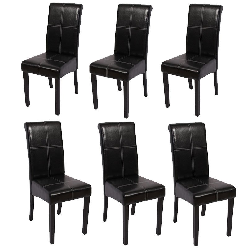 Lote 6 sillas de comedor novara iii con costuras piel natural patas oscuras - Sillas comedor piel ...