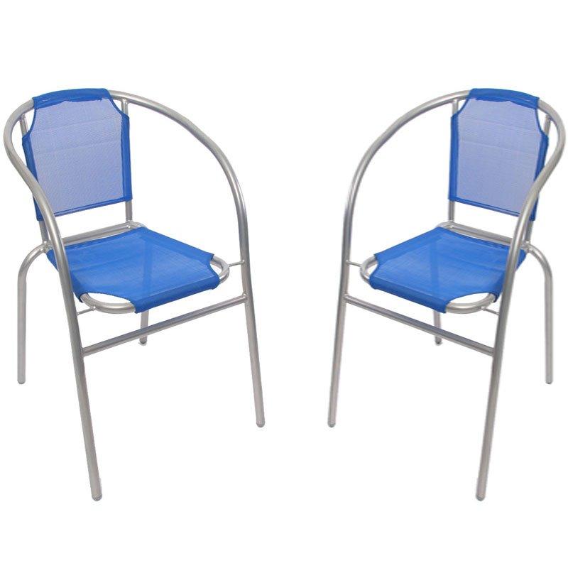 Lote 2 sillas de jard n apilables m31 en aluminio y tela azul for Sillas de jardin de aluminio