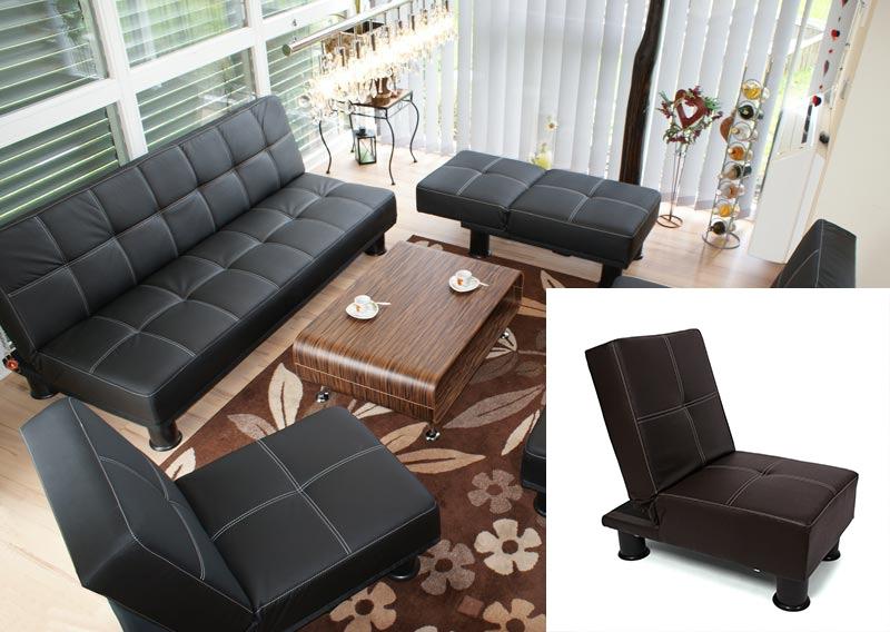 8215f4e78 Lote 3 sillones sofá cama MELBOURNE en polipiel marrón - Homy.es