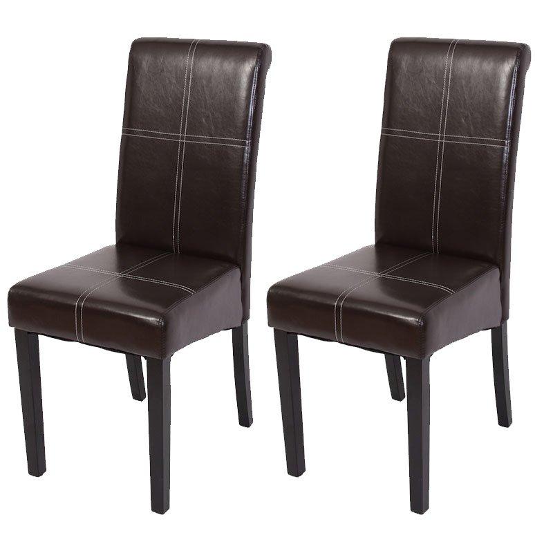 Lote 2 sillas de comedor novara iii con costuras cuero for Sillas de comedor de cuero